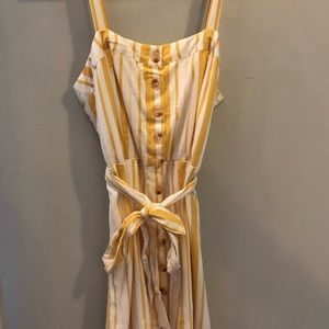 Yellow striped button up dress with tie waist